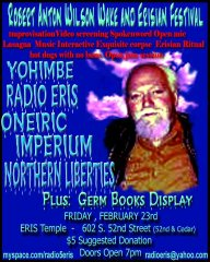 Flyer for the Robert Anton Wilson Wake on 23 Feb 2007